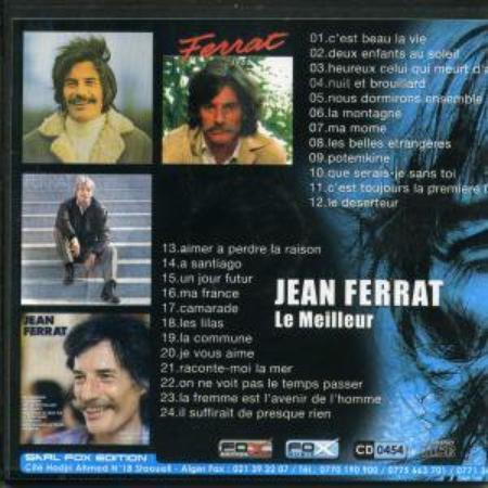 1980) Jean FERRAT - 33T chez  Barclay (12 Titres) version vendu en Algérie(  le verso )