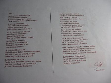 Poême du Maire Michel PESENTI d'Antraigues-sur-Volane pour Jean FERRAT (2010)