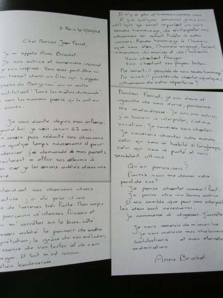 Anne BROCHET écrit à Jean FERRAT (11 Avril 2008)