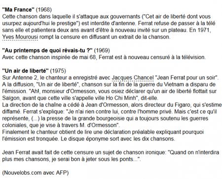Jean FERRAT, chanteur engagé et censuré