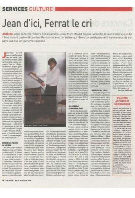 """2010 ) Article de presse sur """"Jean d'ici FERRAT le cri """" (28 Mai 2010)"""