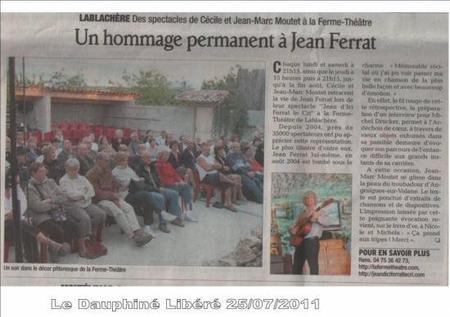 """2011) Article de Presse sur """"Jean d'ici FERRAT le cri """" du 7 juillet 2011"""