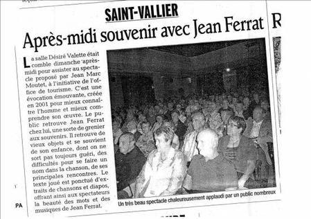 """2012) Article de Presse  sur """"  Jean d'ici FERRAT le cri """""""