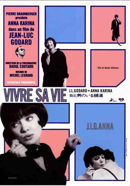"""1962)  Affiche du film """" vivre sa vie """" avec Anna KARINA et Jean FERRAT"""