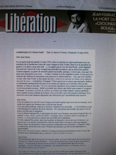 Le journal Libération annonce la mort de Jean FERRAT (14 Mars 2010)
