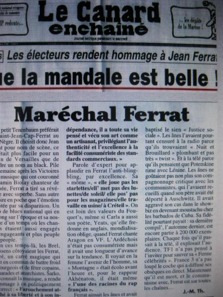 Le Canard enchaîné rend hommage à Jean FERRAT (Mars 2010)