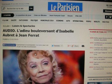 """Article du Parisien """" Isabelle AUBRET rend hommage à Jean FERRAT ( 14 Mars 2010)"""