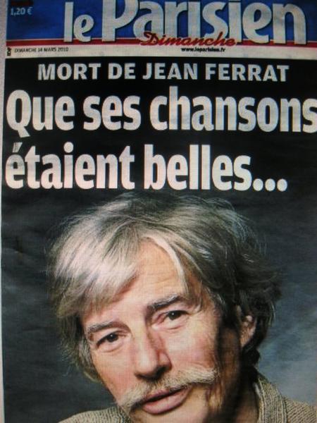 """Le Parisien Dimanche """" Que ses chansons étaient belles """" (14 Mars 2010)"""
