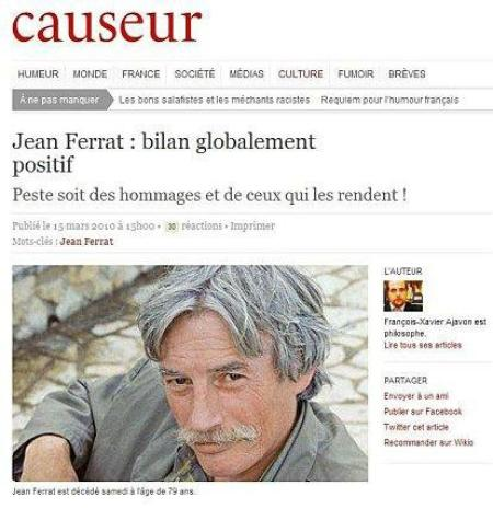 "Causeur "" Jean FERRAT un bilan globalement positif "" (13 Mars 2010)"