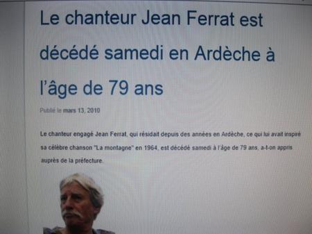 """Article de presse """" Mort de Jean FERRAT """" (13 Mars 2010)"""