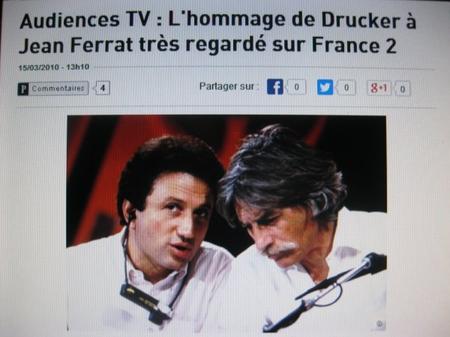 Audience TV : L'hommage de DRUCKER à Jean FERRAT très regarder sur France 2 (15 Mars 2010)