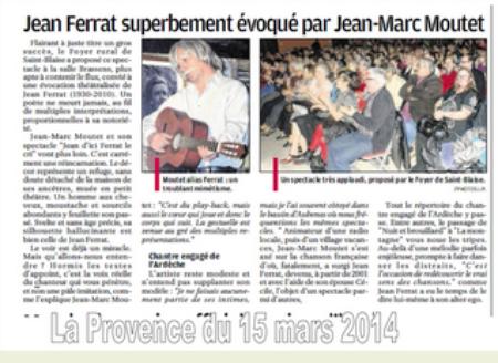 "2014) "" Jean d'ici FERRAT le cri ""  article de presse  '' La Provence "" du 15 Mars 2014"