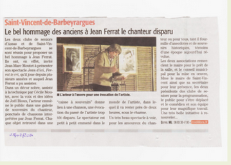 "2014) "" Jean d'ici FERRAT le cri ""  article de presse du "" Midi Libre """