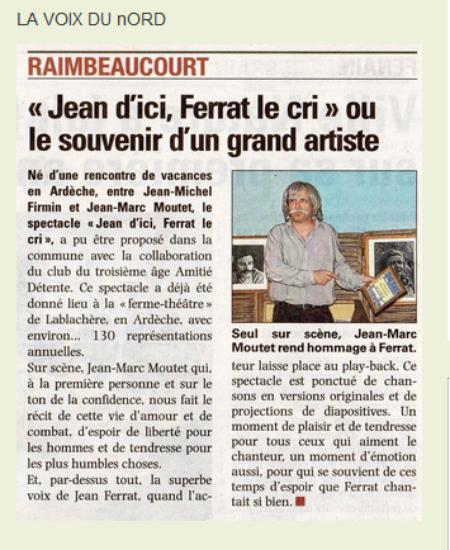 """2014) """" Jean d'ici FERRAT le cri """"  article de presse  '' La Voix du Nord """""""
