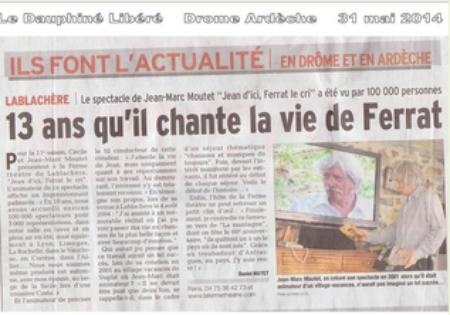 """2014) """" Jean d'ici FERRAT le cri """"  article de presse du  ''Dauphiné Libéré """""""
