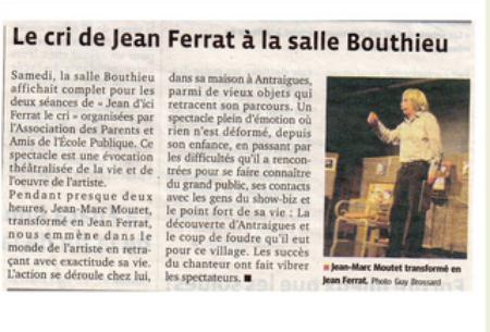 """2014) """" Jean d'ici FERRAT le cri """"  article de presse"""