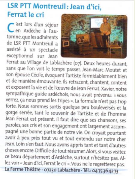 """2014) """" Jean d'ici FERRAT le cri """"  LSR Montreuil au spectacle - Atricle de presse"""