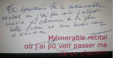 """2004) dédicace de Jean FERRAT sur le """" Livre d'or """" du spectacle"""