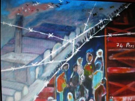 """2013) Exposition de peintures sur les chansons de FERRAT à Boussy-Saint-Antoine (91800) le 7 Décembre 2013  """" Nuit et Brouillard """""""