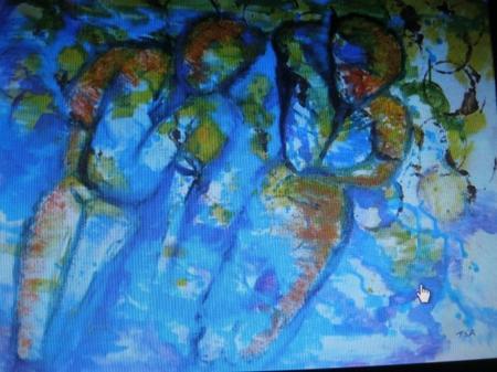 """2013) Exposition de peintures sur les chansons de FERRAT à Boussy-Saint-Antoine (91800)  le 7 Décembre 2013 """" Deux enfants au soleil """""""