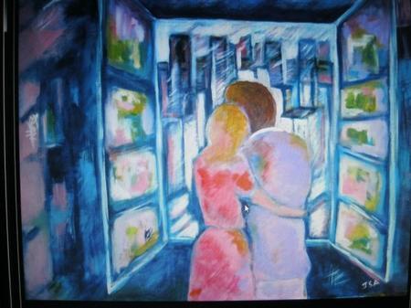 """2013) Exposition de peintures sur les chansons de FERRAT à Boussy-Saint-Antoine (91800) le 7 Décembre 2013 """" Ma Môme """""""