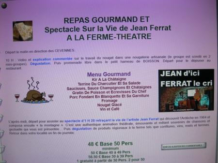 """2014) Repas à la ferme du spectacle""""  Jean d'ici FERRAT le cri """""""