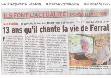 """2014)  Article de presse """"Jean d'ici FERRAT le cri """""""