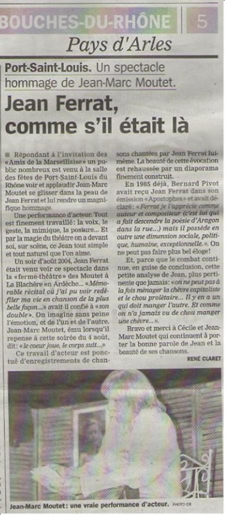 """2014) Article de presse  """" Jean d'ici FERRAT le cri """""""