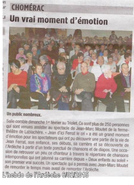 """Article de presse du 6 Février 2015 du spectacle """" Jean d'ici FERRAT le cri """""""