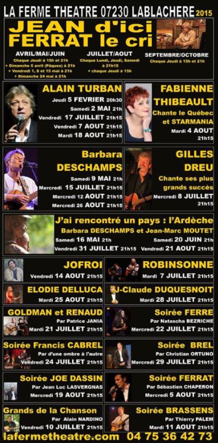 Programme 2015  de la ferme Théâtre à Lablachère (07230)