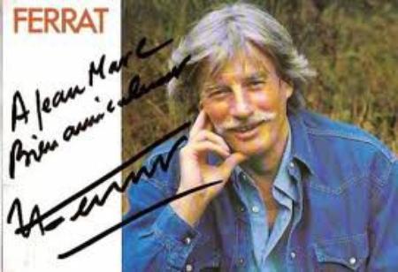 2004) Dédicace de Jean FERRAT à Jean-Marc MOUTET après le spectacle