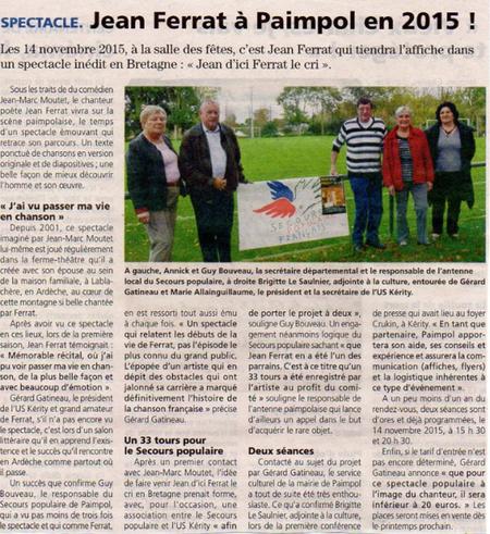 2015) Spectacle Jean d'ici FERRAT le cri à Paimpol (22500) le 14 Novembre 2015