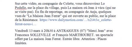 2015) Colette FERRAT nous invite dans le royaume Ardéchois de Jean FERRAT