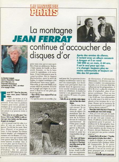 """1995) Article de Presse  """"  la montagne de Jean FERRAT continue d'accoucher de disques d'or"""