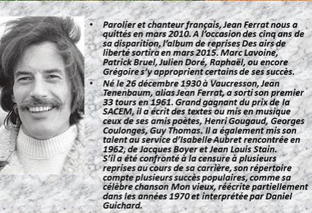 """2015) Au JT de 20h sur TF1  """" Des airs de liberté """" Album hommage à Jean FERRAT"""