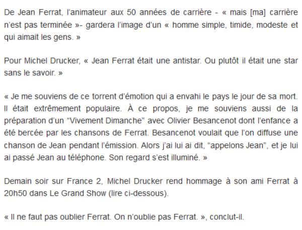 2015) L'HOMMAGE de Michel DRUCKER à son ami Jean FERRAT (13 mars 2015)