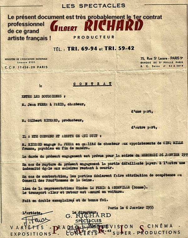 1955) 1er contrat de Jean FERRAT