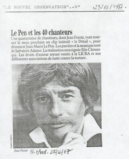 1987) Article du Nouvel Observateur du 25 Décembre 1987  '' Le PEN et les 40 chanteurs ''