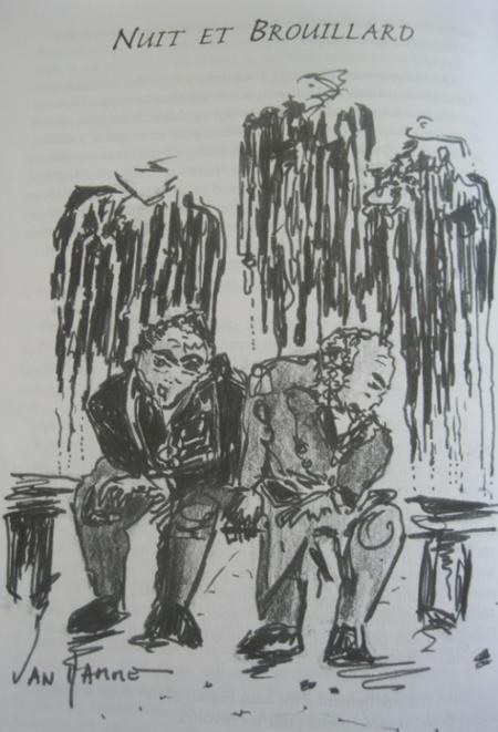 """2006)  """" Nuit et Brouillard """" dessin de Michel VAN HAMME et de son livre """" Hommage à Jean FERRAT (De Jean tendresse à FERRAT les colères)"""