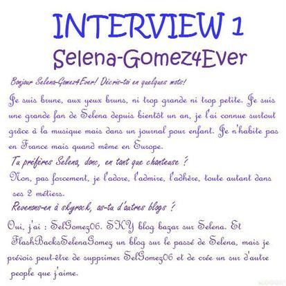 "PREMIER interview! Selena-Gomez4Ever!!! ""Selena? Je l'admire et je l'adhère!"""