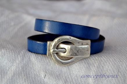 bracelet cuir 10 mm double