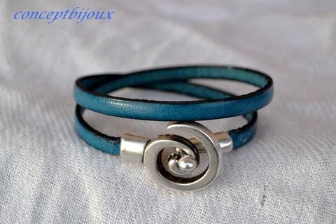 bracelet lacet cuir 5 mm double