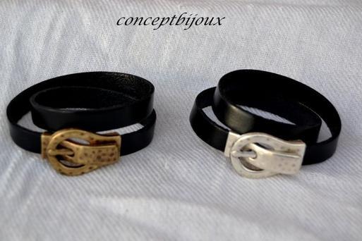 bracelet 10 mm double noir