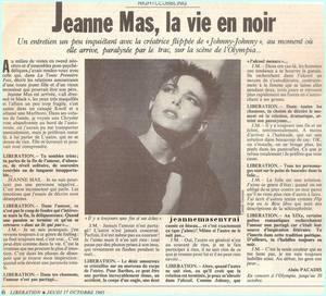Article de presse - LIBERATION (17/10/1985) - Interview avant l' OLYMPIA 1985