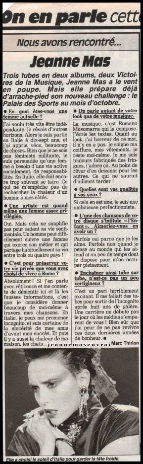 Le passage TV inédit de la semaine - JEANNE MAS - IDEALI (1986) + Articles de presse d'époque