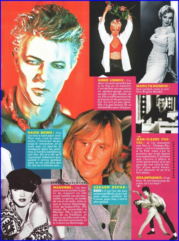 Article de presse (Février 1987) - Les idoles de Jeanne  Elle nous parle de ses acteurs et chanteurs préférés