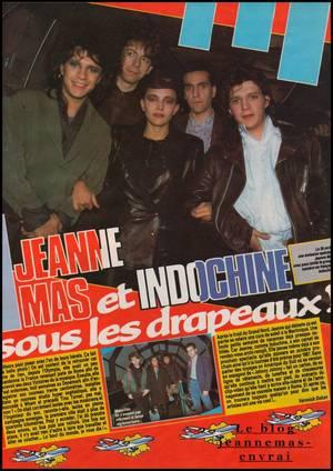"""Article de presse (mai 1986)  - """"JEANNE MAS et Indochine  sous les drapeaux """""""
