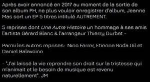 NEWS site officiel - Jeanne revient à la musique
