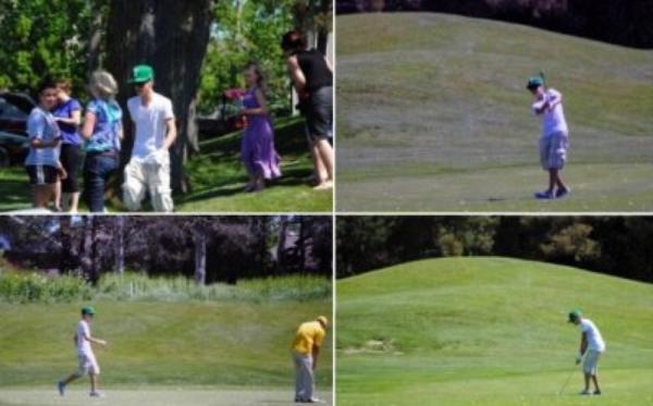 Justin Bieber fait du golf pendant son séjour a Straford.