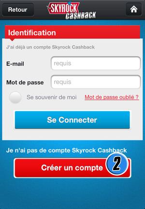 Comment créer mon compte Skyrock Cashback ?